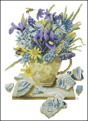 Violet Bouquet MB вышивка крестом схема крестиком