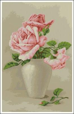 Розовые розы в вазе вышивка крестом скачаать схему вышивки