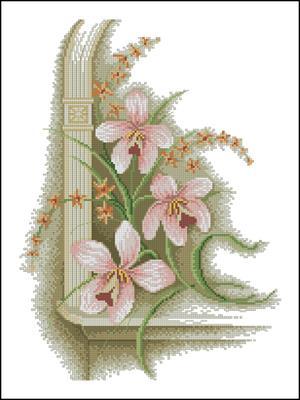 Уголок - Орхидеи схема вышивки крестом