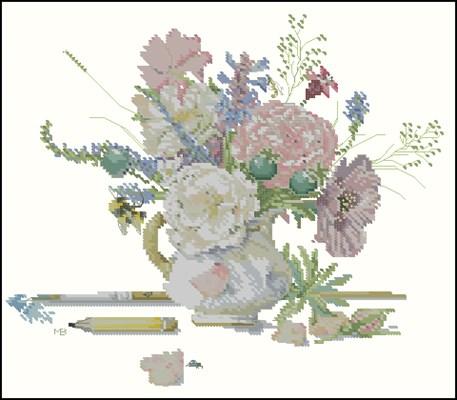 Kan met bloemen схема вышивки крестом