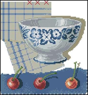 BK285 Blue Bowl and Cherries вышивка крестом