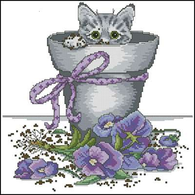 Flowerpot Kitty вышивка крестом схема