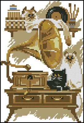 Коты и граммофон схема вышивки