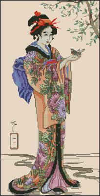 Geisha (гейша) схема вышивки крестом