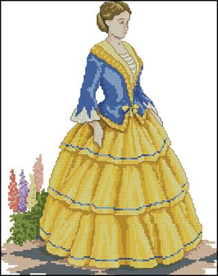 Дама в золотом схема бесплатно крестиком