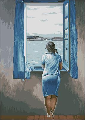 Muchacha en la ventana схема вышивки крестиком