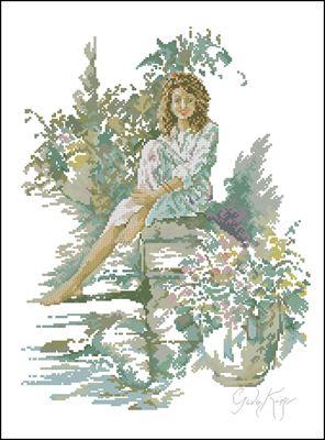Девушка с кудряшками схема вышивки крестом