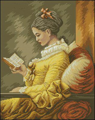 Девушка за чтением вышивка крестом схема