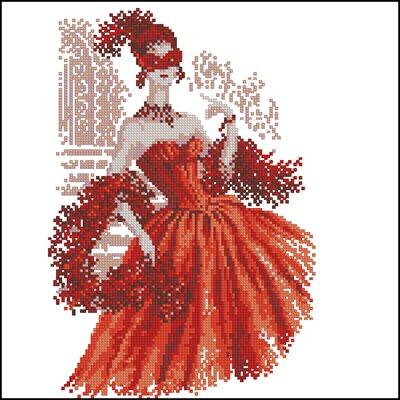 Дама в красном схема вышивки крестом скачать