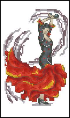 Танцы - Фламенко схема вышивки крестом