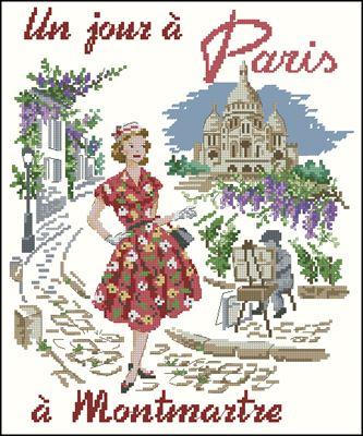 Un jour a Paris a Montmartre схема вышивки крестом