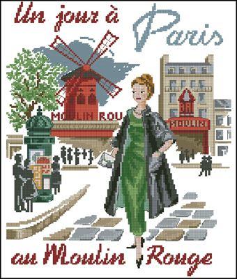 Un jour a Paris au Moulin Rouge схема вышивки крестом скачать