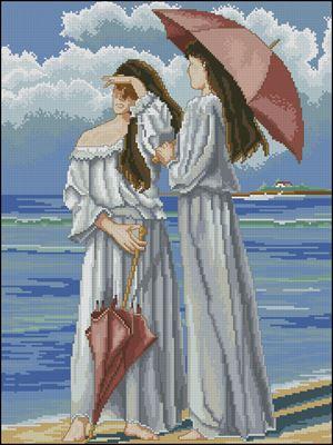 Senoras con Sombrilla вышивка крестом