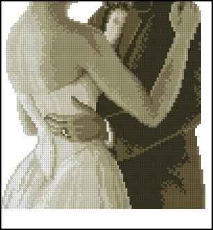 Свадебный танец монохром схема вышивки крестом