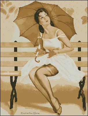 Девушка с зонтом схема вышивки крестом