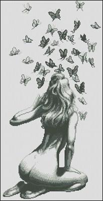 Девушка и бабочки схема вышивки крестом скачать бесплатно