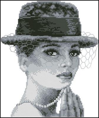 Дама в шляпе схема вышивки крестом скачать