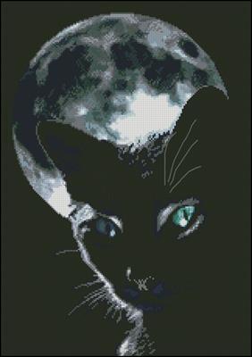 Черный кот на фоне луны схема вышивки крестом скачать бесплатно
