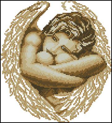 Ангел (монохром) схема вышивки крестом