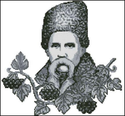 Шевченко і калина (монохром) схема вишивки