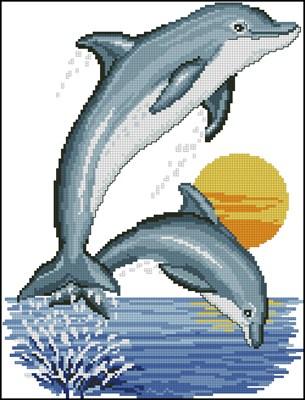 Дельфинчики вышивка крестом