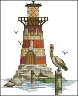 Маяк с пеликаном вышивка крестом