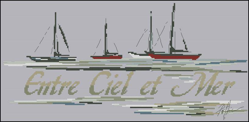 Entre Ciel et Mer схема вышивки крестом