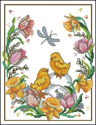 Цыплята и стрекоза схема вышивки