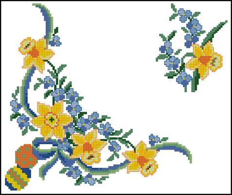 Пасхальная салфетка схема вышивки крестиком