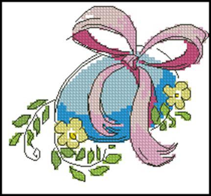 Яичко с цветочками вышивка крестиком