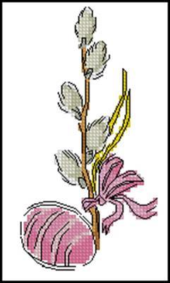 Яичко с вербой схема вышивки крестиком
