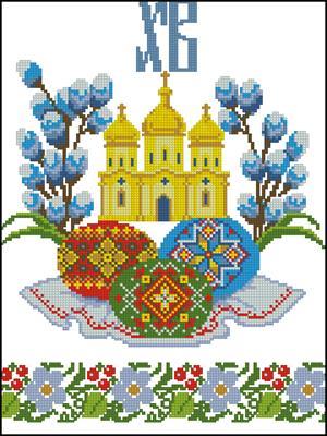 """Рушник Пасхальный """"Церковные колокола"""" схема вышивки крестиком"""