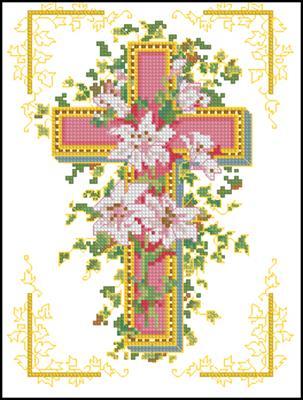 Розовый крест схема вышивки скачать