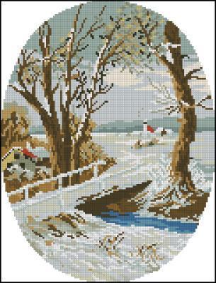 Новогодняя открытка 3 схема вышивки крестиком