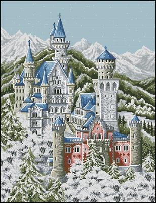 Зимний замок схема вышивки