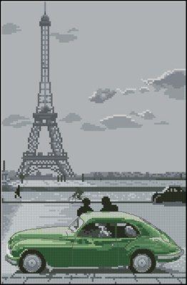 Paris Eiffel Tower схема вышивки крестом скачать бсплатно