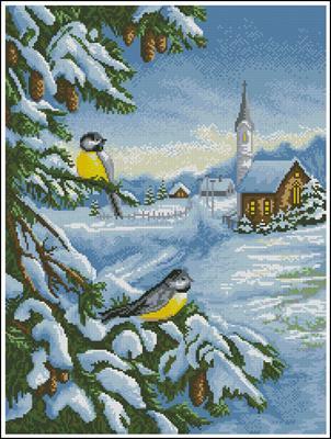 Снежная песня схема вышивки крестом