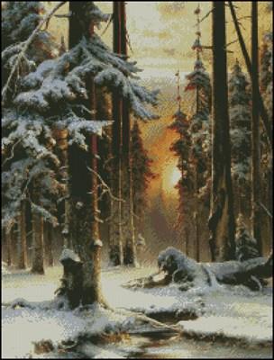 Зимний закат в еловом лесу вышивка крестом