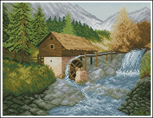 Water Mill вышивка