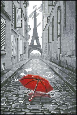 В Париже дождь вышивка крестом бесплатно