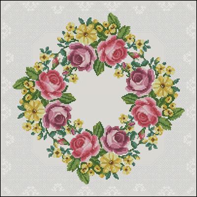Подушка с розами схема бесплатно