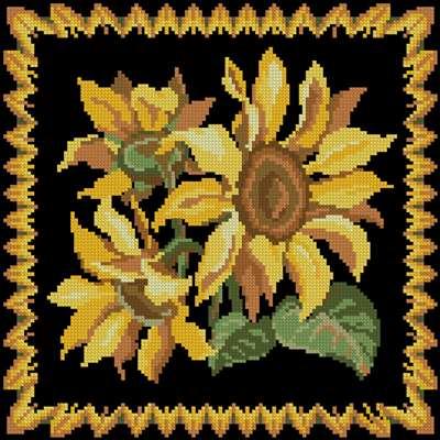 Pillow Sunflowers схема вышивки крестом