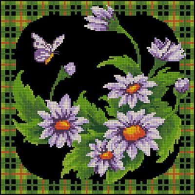 Ромашки с бабочкой вышивка крестом
