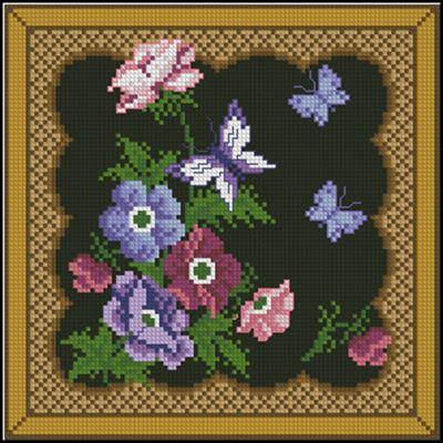 Подушка «Цветы и бабочки» вышивка крестом скачать