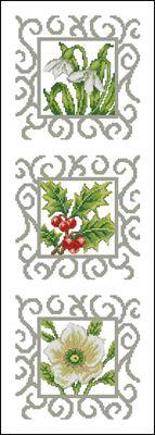 Триптих «Цветочки» вышивка крестом