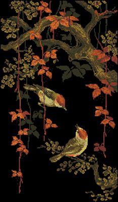 Райские птички схема вышивки крестом