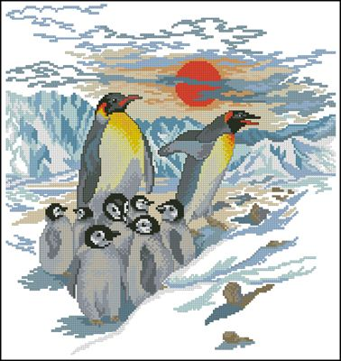 Королевские пингвины вышивка крестом схема