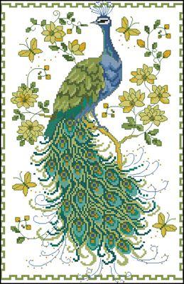 Peacock схема вышивки крестом