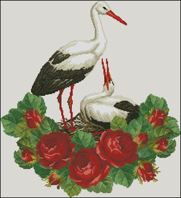 Аисты и цветы вышивка крестом схема