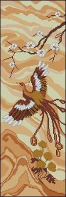 Панно с птицей и сакурой схема вышивки крестом